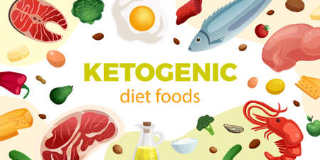 Ketogenic diet realistic horizontal frame with high protein and fat healthy foods vector illustration