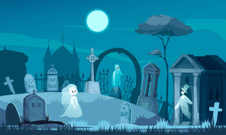 Haunted cemetery with old graves crosses crypt on background with night sky and chapel silhouette cartoon vector illustration Ilustracja