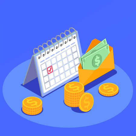 Social security isometric background with envelope with banknotes and coins intended for needy people vector illustration Ilustracja