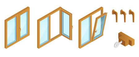 Double casements wooden windows with accessories isometric set on white background isolated vector illustration