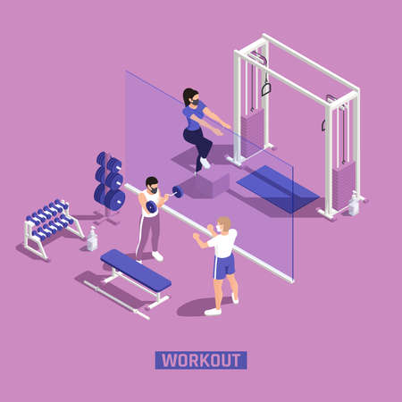 Gym fitness workout centra corona pandemic precautions clear plastic barriers people wearing masks isometric compositions vector illustration