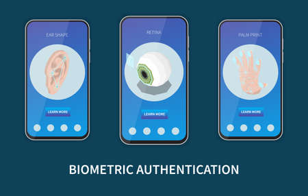Biometric authentication isometric set of three vertical banners in smartphone frames with personal identification methods images vector illustration
