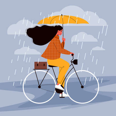 People with umbrella composition with female character of bicycle rider moving under rain showers holding umbrella vector illustration