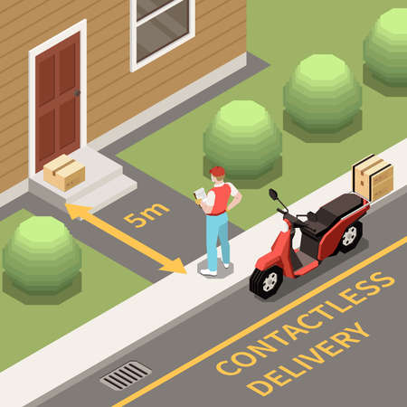 Contactless delivery of orders isometric background with courier standing at 5 metres distance from door 3d vector illustration Ilustracja