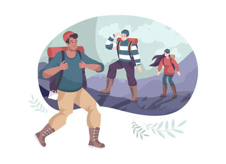 Cartoon outdoor composition with group of hikers wearing backpacks vector illustration Ilustracja
