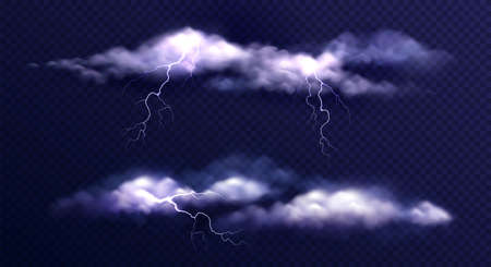 Stormy clouds realistic set with isolated images of thunderstorm clouds with lightning bolts on transparent background vector illustration