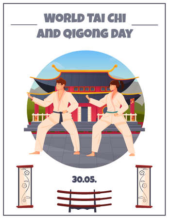 World tai chi and qigong day flat card with two oriental athletes in kimono at chinese pagoda background vector illustration