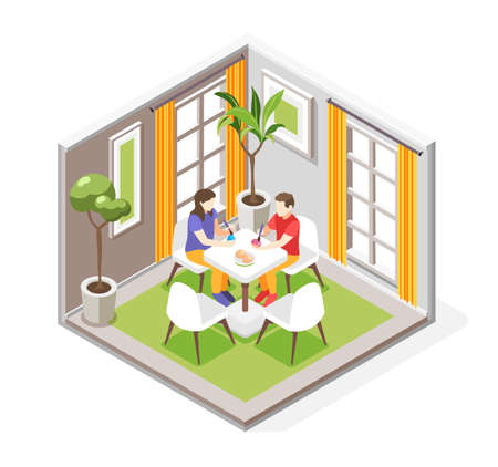 Easter isometric composition with indoor view of dining room with human characters painting eggs at table vector illustration