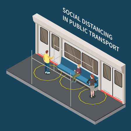 Social distancing isometric composition with editable text and view of train cabin with distanced passengers characters vector illustration Stock Illustratie