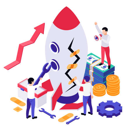Economic business recovery isometric composition with image of rocket cash and gear icons workers with wrench vector illustration