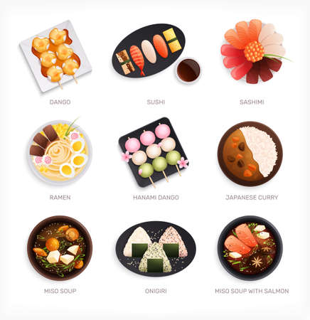 Traditional japanese food cuisine flat set with nine isolated images of various dishes with text captions vector illustration