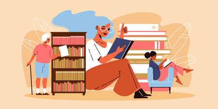 Three women reading and taking book from bookshelf flat vector illustration Stock Illustratie
