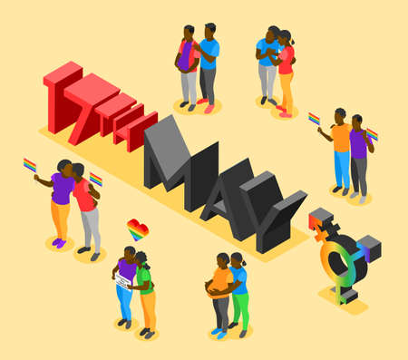 International day against homophobia isometric poster with date 17th may and loving couples vector illustration Stock Illustratie