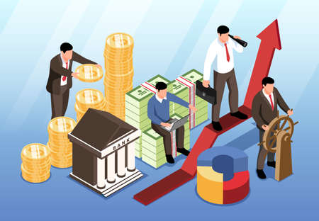 Investment horizontal background with bank building and partner team near indicator of growth and development of overall business isometric vector illustration Stock Illustratie