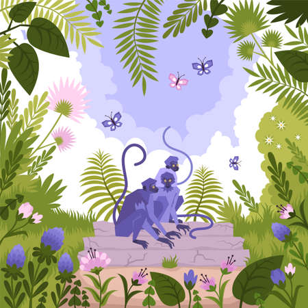 Flat colored landscape composition with a group of monkeys sitting in a tree in the jungle vector illustration Stock Illustratie