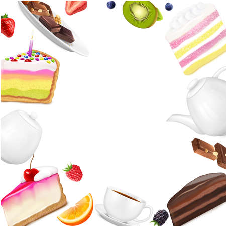 Realistic white background with cake pieces fresh berries fruit slices chocolate cup teapot and sugar bowl vector illustration