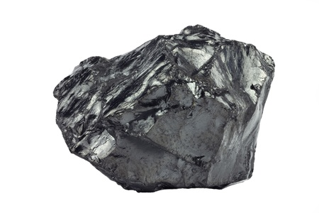 A piece of raw coal on white