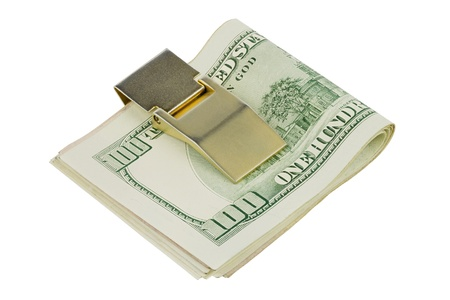 One hundred dollars banknotes in money clip isolated