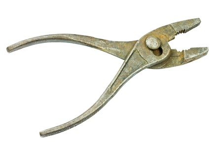 Old vintage pliers open isolated on white background photo