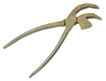 Old vintage pliers open isolated on white background Stock Photo - 18505481