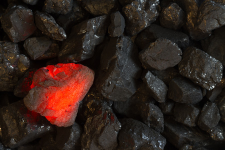 calorific: Red hot Charcoal on raw coal background