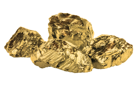 Golden nuggets closeup isolated on white