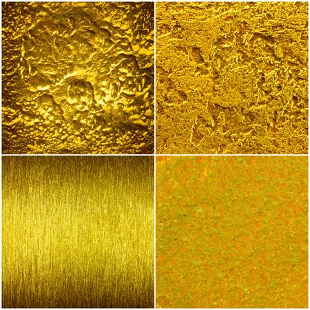 Set of golden texture, scratchet, gruge, forged. Golden steel background