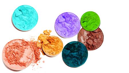 Multicolor eye shadow isolated on white background. Stock Photo