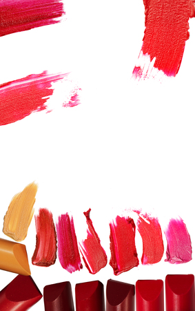 Collage of various lipstick isolated on white