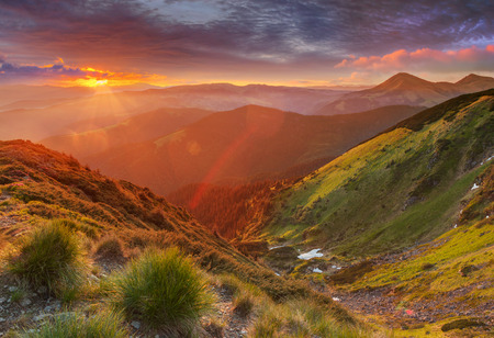 Amazing colorful sunrise in mountains with colored sunrays and fresh grass on foreground. Dramatic colorful scene in mountains