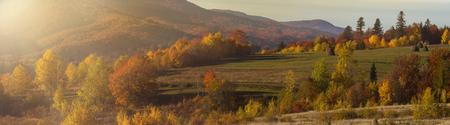 Beautiful golden sunlight in on autumn landscape in mountains. Morning in the Carpathian mountains. Colorful autumn landscape in the mountain village.
