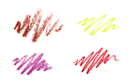 Series of color pencil strokes on white background. Color pencils drawings isolated on white background Reklamní fotografie