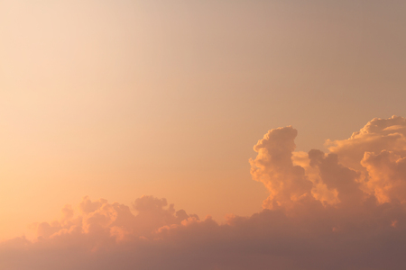 Beautiful clouds on the sky with soft sunlight in sunset