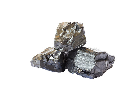 Natural black coal bars isolated on white background. Industrial coal nuggets close up cut out on white background