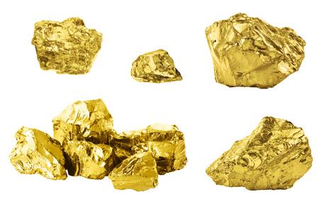 Set of golden nuggets isolated on white background. Different bars of gold isolated on white background Reklamní fotografie