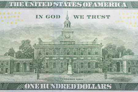 One hundred dollars bill reverse side close up Reklamní fotografie