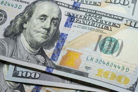 One hundred dollar bills close up with selective focus 免版税图像 - 110302791