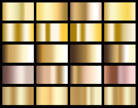 Gold gradient background icon texture metallic illustration for frame, ribbon, banner, coin and label. Realistic abstract golden design seamless pattern. Elegant light and shine vector template.