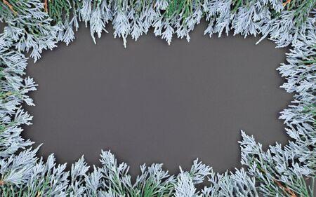 Whiteblue and green leaf frame around blackboard wallpeper flat lay