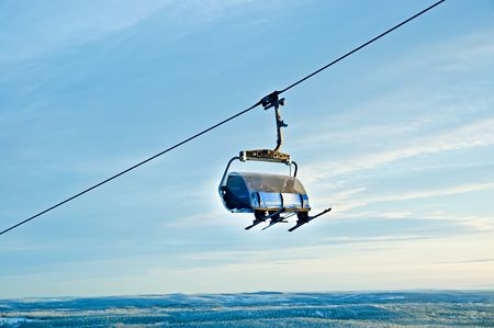chairlift: ski chairlift Finland Stock Photo