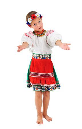national costume: sweet girl in Ukrainian national costume