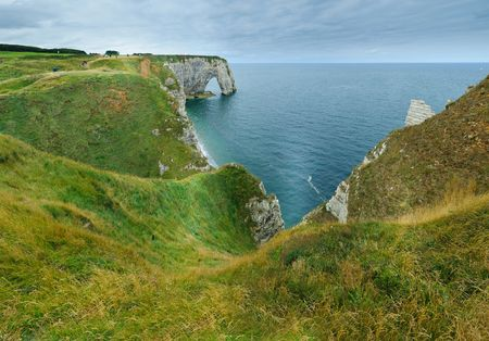 Alabaster Coast. (Côte dAlbâtre.) Panorama. Etretat. France photo