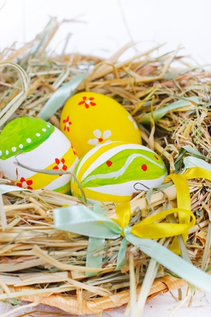 Closeup basket with colorful Easter Eggs photo