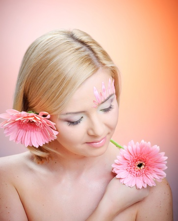 ceremonial make up: Beautiful young woman with fashion make-up Stock Photo