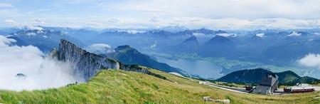 Panorama the birds-eye view Over An Austrian Lake photo
