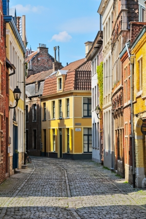 cobbled: A typical Dutch street in the Delph. Netherlands Stock Photo