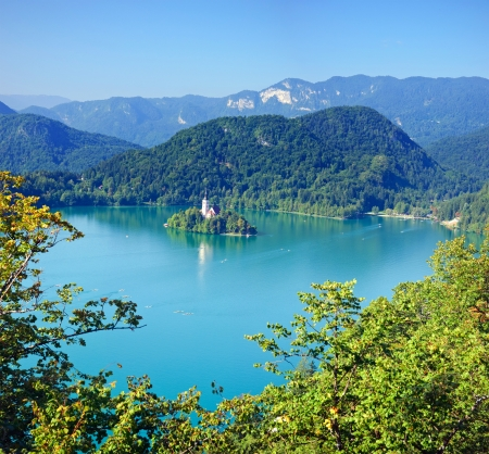 Photo from air perspective, Bled lake with island Stock Photo