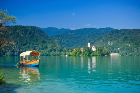 Colorful boat on Lake Bled. Slovenia