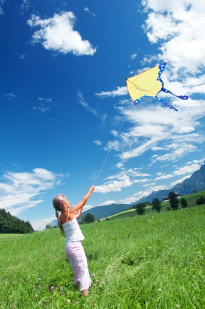 kite flying: Child Flying A Kite