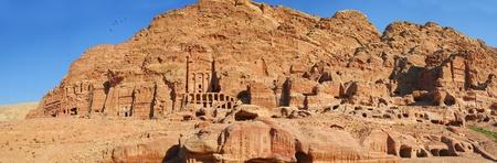 Caves in lost city of world wonder Petra, Jordan photo